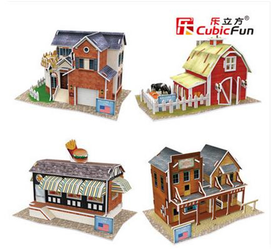 DIY Cubic Fun 3D Paper Puzzle United States Style Construction architecture model making Villa Bar Farm Fast Food Shop(China (Mainland))