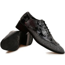 Western Fashion Laser Print Patent Sequined Leather Patchwork Dress Oxfords Mens Pointed Toe Bling Party Shoes Lace Up Trendy(China (Mainland))