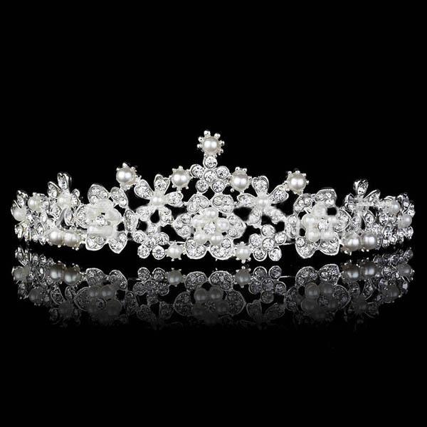 Bridal tiara pearl romantic bride hair accessories rhinestone tiara headband vintage style flower wedding hair accessories(China (Mainland))