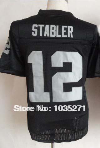 Excellent jersey Elite American Football Jersey #12 Ken Stabler Jersey,Stitched Logo Embroidery