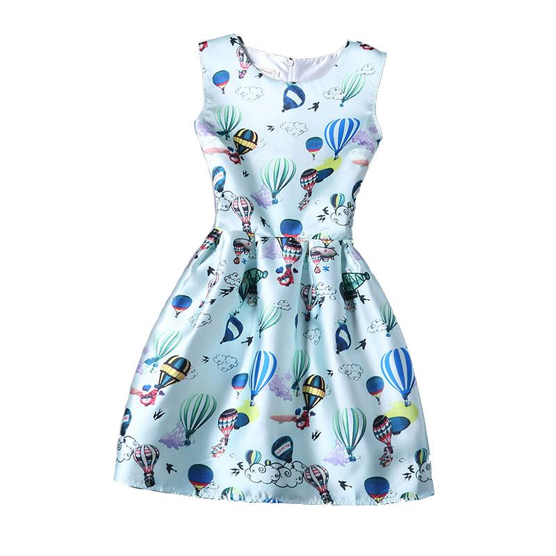 1 Pcs 2016 Vintage Dress For Women Mori Girl Print Cat and Hot Air Balloon Buildings Sleeveless Cute Short Evening Clothing(China (Mainland))
