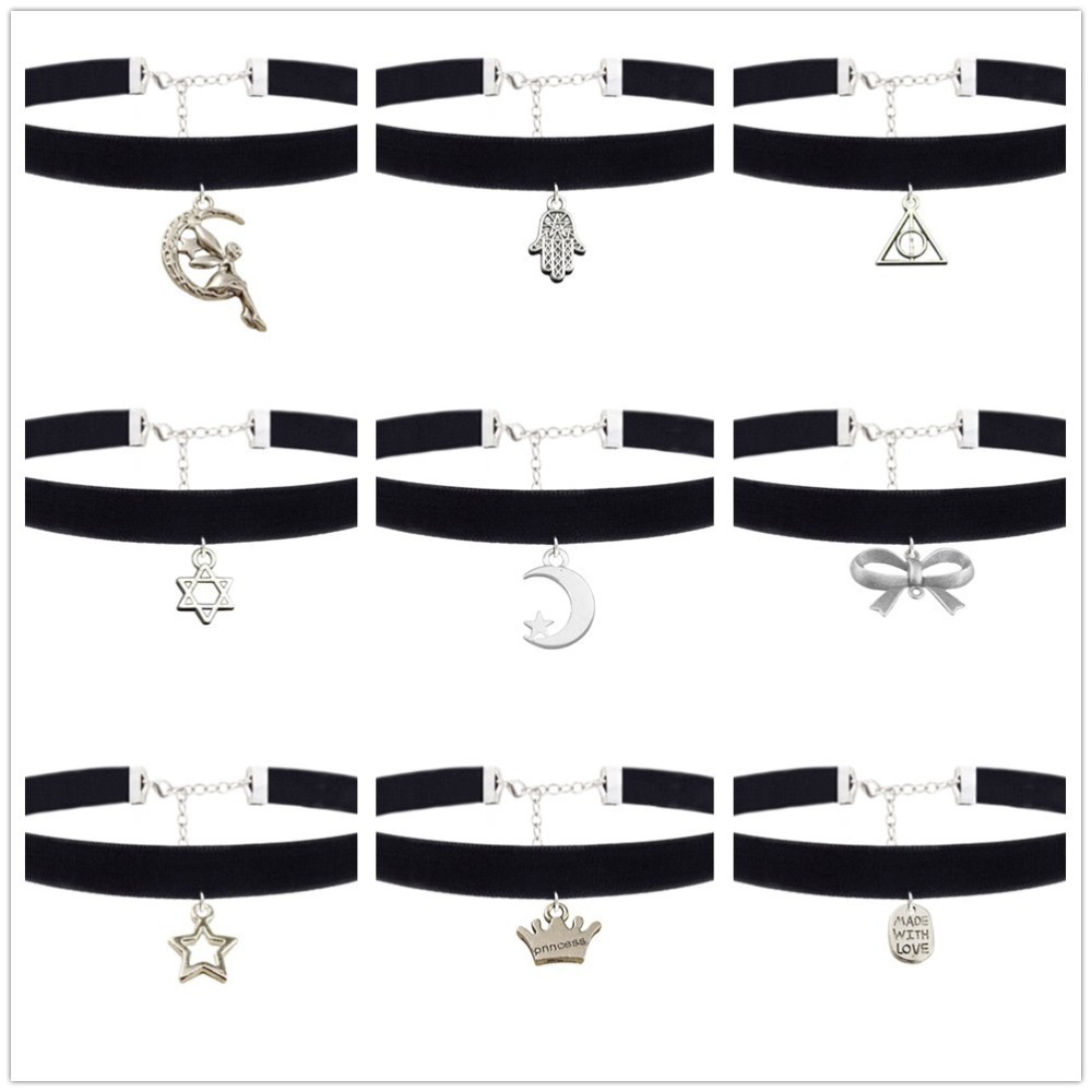 10pcs/lot Hot Sale Plain Black Velvet Ribbon Choker Necklace Gothic Handmade With Charm Gothic Emo For Women collier femme(China (Mainland))
