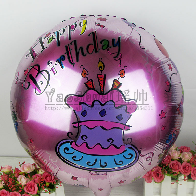 50pcs/lot 18 inch pink birthday cake foil balloons inflatable children's toys helium balloon birthday party decoration(China (Mainland))