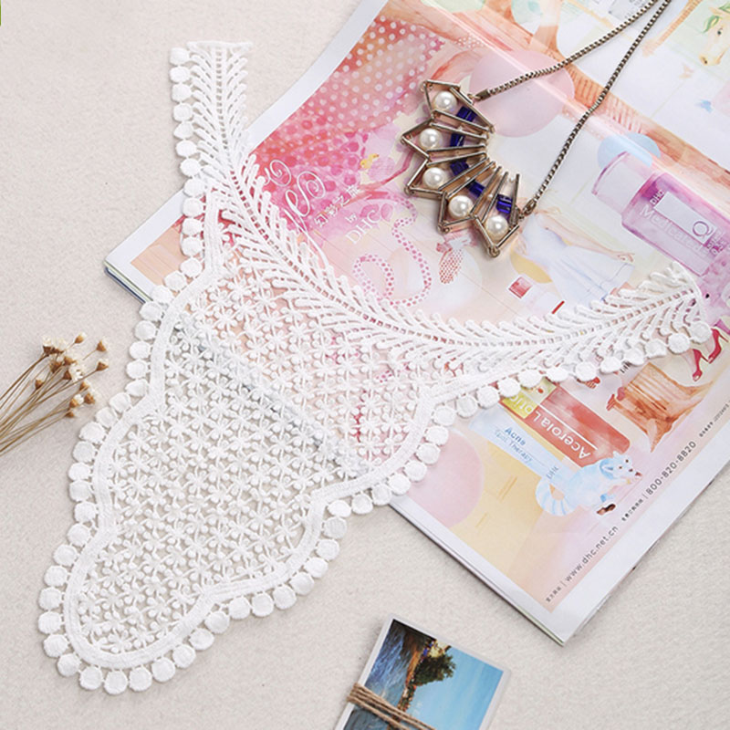 2pcs white embroidery sew DIY accessories craft applique patches neckline lace collar lace cotton fabric for dress best selling(China (Mainland))