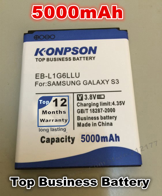 New Arrivals 4800mah EB-L1G6LLU battery For Samsung Galaxy S3 i9300 Battery High Quality free shipping