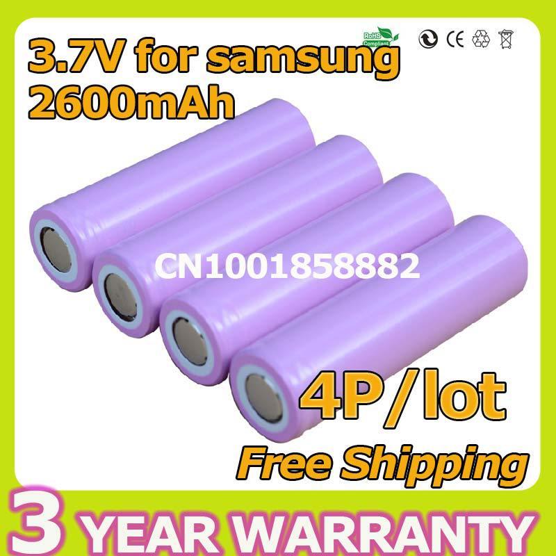 3.7V 4p 2600mAh Original For Samsung 18650 rechargeable li-ion Lithium Battery 4x ICR18650-26F 2600 mAH batteries ICR18650(China (Mainland))