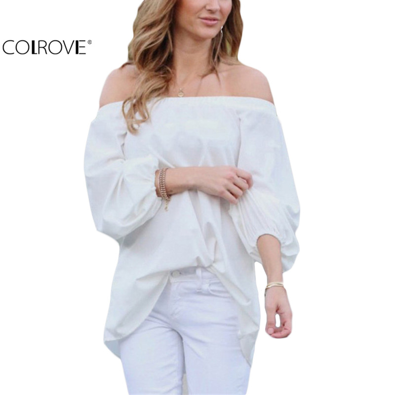 COLROVE White Long Sleeve Off The Shoulder Loose Women Tops 2016 New Arrival Hot Sale Brand Casual Blouse(China (Mainland))