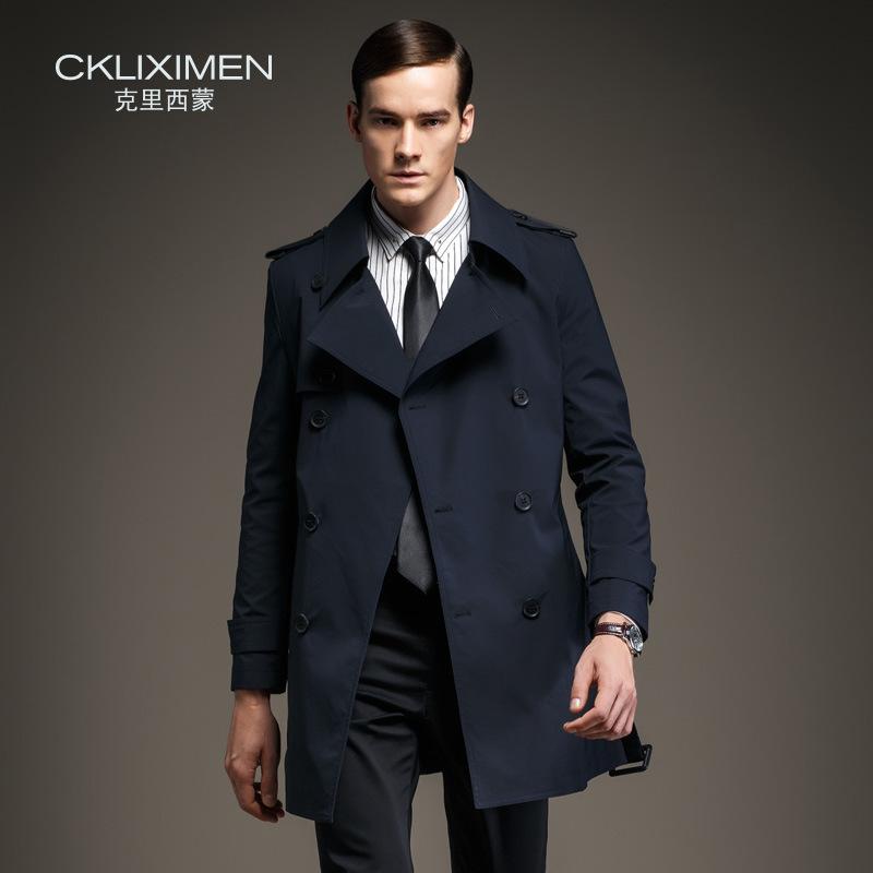Новые прибытия Британский Стиль двойной брестед мужская с длинным пальто марка бизнес случайных ветровка куртка пальто мужчины
