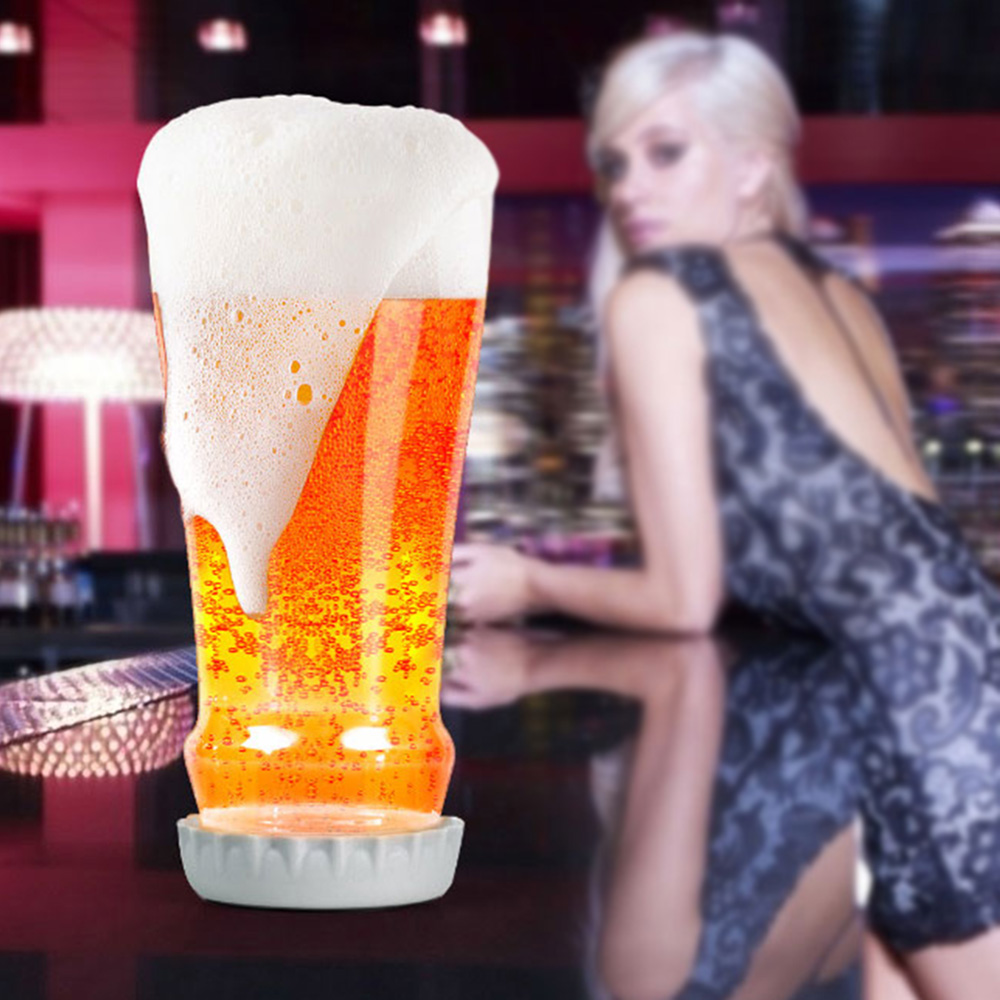 Creative Novelty Unique Beer Glass Cup Bottle-shaped Mug Beverage Whiskey Wine Party Juice Milk Drinkware with Removable Coaster(China (Mainland))