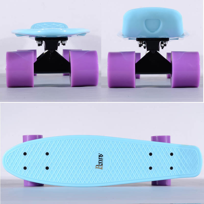 Penny Pastel Mint 22 Cruiser Complete Skateboard with Black Alu Alloy Trucks and Purple Wheels(China (Mainland))