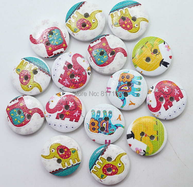 12pcs/lot Garment Accessory 2 Holes 15MM Sewing Laser Cut Cartoon Elephants Painting Wooden Wood Buttons Scrapbooking Crafts(China (Mainland))