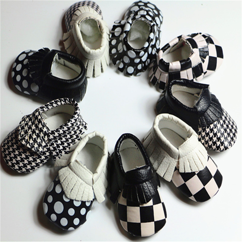 Plaid Black and White Baby Shoes Tassel PU Leather Newborn Boys Girls Shoes First Walkers Baby Moccasins 0-18 Months(China (Mainland))