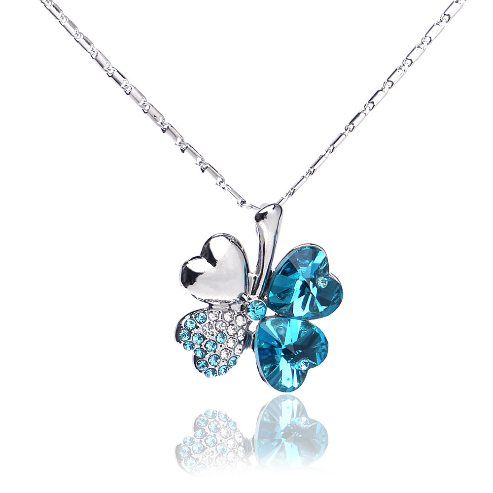 New 2016 Austrian crystal jewelry pendants fashion 18k white gold plated rhinestone four leaf necklace clover pendant(China (Mainland))