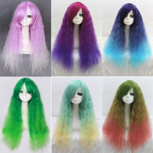 Free Shipping   70cm long Zipper multi-color curly wave cosplay hair wig CW204A  New Hot Selling<br><br>Aliexpress