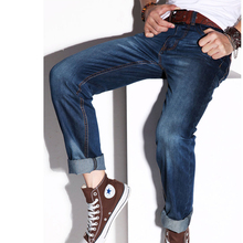 autumn and winter Men male straight jeans trousers tidal current male slim trousers thick(China (Mainland))
