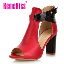Size 32-43 Women's Natural Real Genuine Leather High Heel Sandals Platform Ladies Gladiator Shoes Summer Platform Sandals R233(China (Mainland))