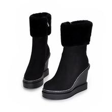 Tamaño grande 34-41 zapatos de la nieve de Invierno mantener el calentamiento de calidad superior cremallera botas de nieve cuñas tacones altos amantes diseñador de mitad de la pantorrilla botas(China (Mainland))