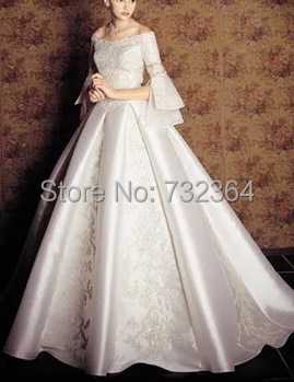 Long sleeve beading medieval princess wedding dress for Wedding dresses in europe