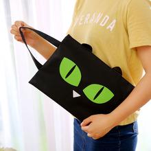 Cute A4 Canvas Tote File Folder Cartoon Cat Business Document Bag Filing Multifunction Handbag Zipper Pocket Office Supplies(China (Mainland))