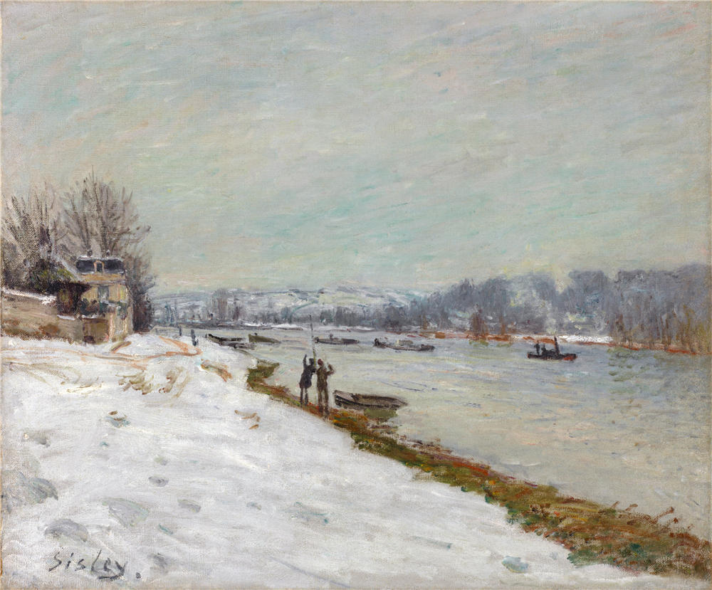 Alfred Sisley Embankment At Billancourt Snow Winter Oil