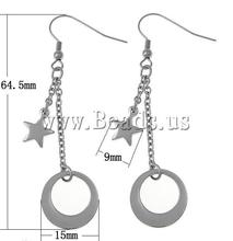 Free gift bag Free Shipping Fashion wholesale donut & star shape Stainless Steel Drop Earrings(China (Mainland))