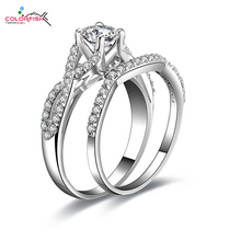 Buy COLORFISH Infinity Rings Set Women 0.5 ct Round Synthetic Sona Ring 925 Sterling Silver Wedding Engagement Ring Set for $29.03 in AliExpress store