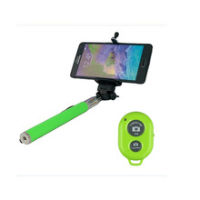 Self Selfie Handheld Stick Monopod with Smartphone Adjustable  Bluetooth Remote Wireless Shutter for iPhone Samsung  IOS -Green