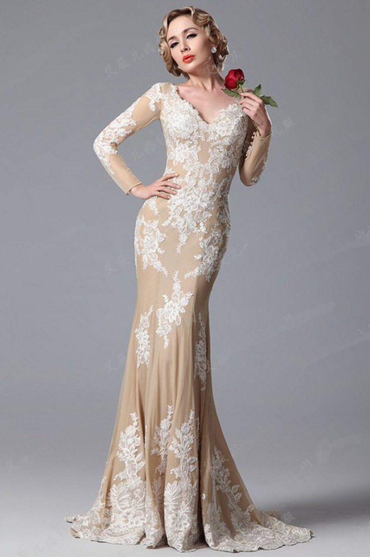 Long sleeves champagne evening gowns with lace v neck for Long sleeve dresses for wedding party