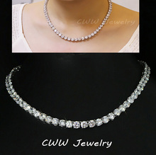 Luxury Sparkling White Gold Plated 0.8 CM Big Carat Cubic Zirconia Diamond Crystal Round Choker Necklaces For Women CP044(China (Mainland))