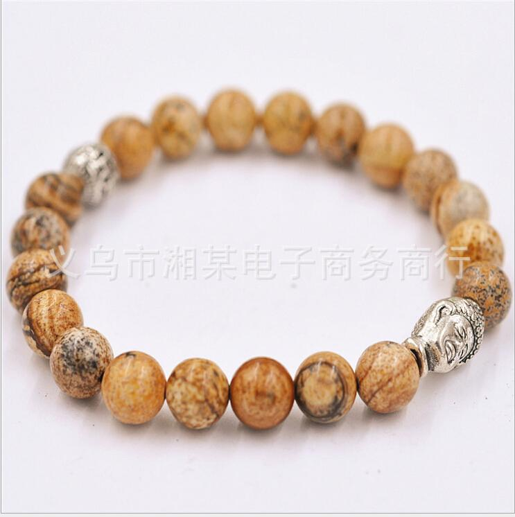 Spread the supply hot evil fortune to help healthy natural picture Buddha head stone bracelet beads bracelets(China (Mainland))