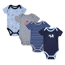 4PCS Baby Brand Boy Girl Bodysuits Short Sleeve Striped Style Newborn Clothes Bodysuits & One-Pieces Baby Clothig Color Blue(China (Mainland))