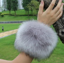 2015 autumn and winter women's extra large faux fur fox fur cuff winter oversleeps hand ring wristiest gloves winter arm warmer(China (Mainland))