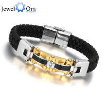 JewelOra 2013 New Product Luxury man golden 316L stainless steel with CZ Carbon fiber leather braid Bracelet men #BA100810