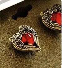 2016 New Style Fashion Vintage Red Heart Earrings Wedding Jewelry Accessories