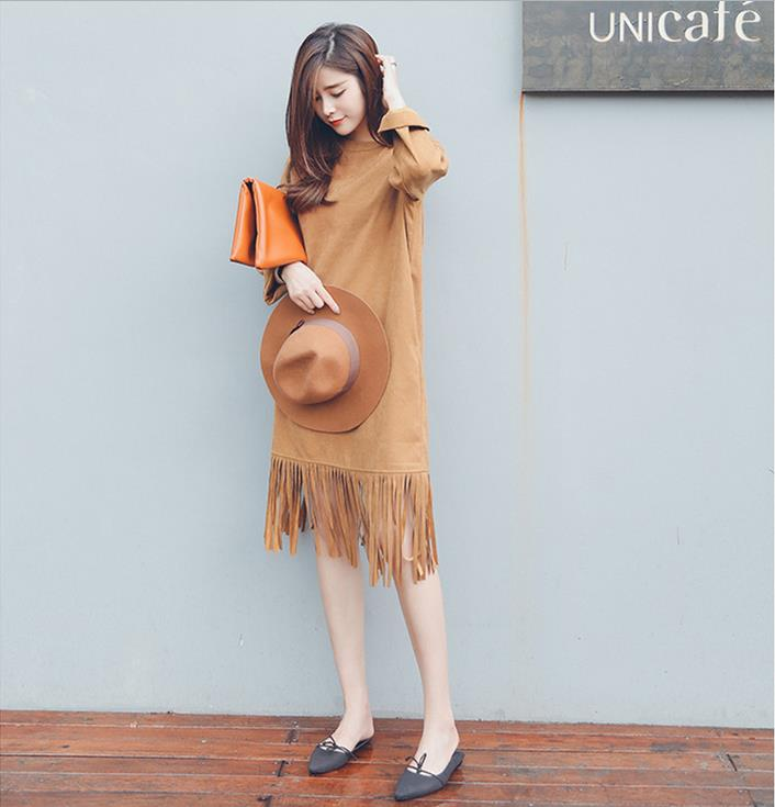 Dresses Women's Clothing 2015 new fall fashion hem long paragraph shall be required temperament wild tassel sleeve dress(China (Mainland))