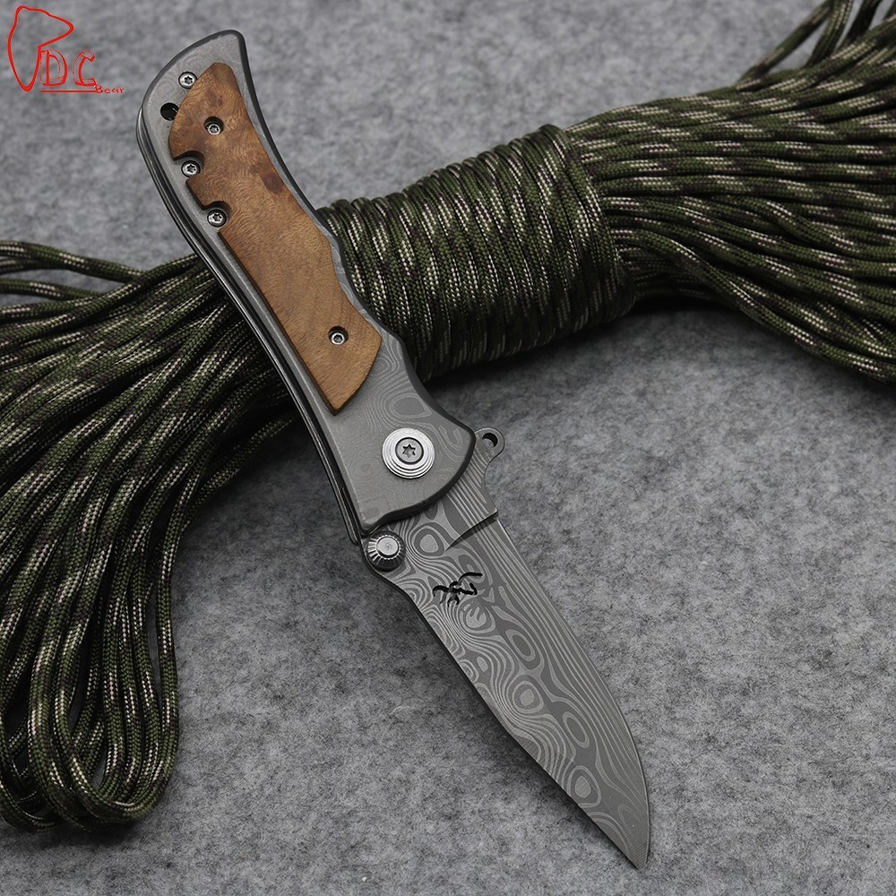 Buy Dcbear Pocket Folding Knife 440C Steel Blade Wood Handle Handmade Pattern Steel Tactical Knife Outdoor Camping Knives cheap