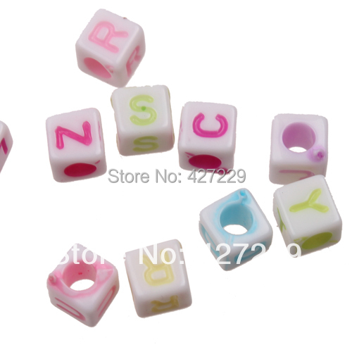 6*6mm 1000pc Alphabet Letter Acrylic Loose Beads European Charms DIY Bracelets Necklace Handmade Pendant Findings Jewelry - Megan's House store