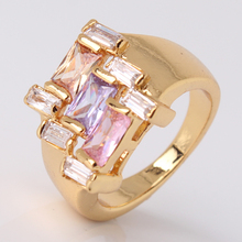 New 2014 24K Gold Plated Colorful Crystals CZ Cocktail Party Ring For Women Jewelry Wholesale Free Shipping  (GULICX R213)