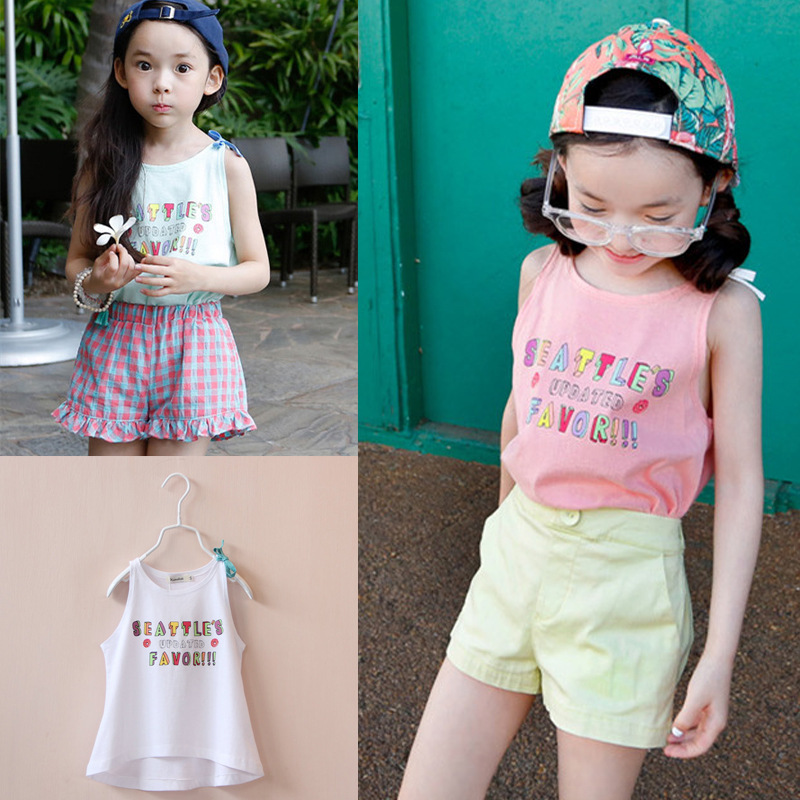 New seckill 3 fashion colors girls tops summer 2015 children girls t shirts girl Letters printed cotton vest robocar mama(China (Mainland))