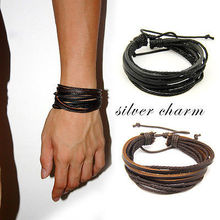 2pcs/lot Hot Unisex Charm Surfer Tribal Wrap Multilayer Genuine Leather Bracelet For Men Women Jewelry(China (Mainland))