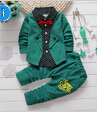 Spring autumn children clothing set 2016 new fashion baby boys tide shirt fake three-pieces clothes suit kids boys outfits suit(China (Mainland))
