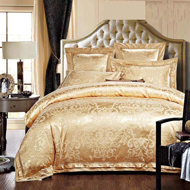 Luxury jacquard silk bedding sets queen king size 4pcs for Luxury cotton comforter sets