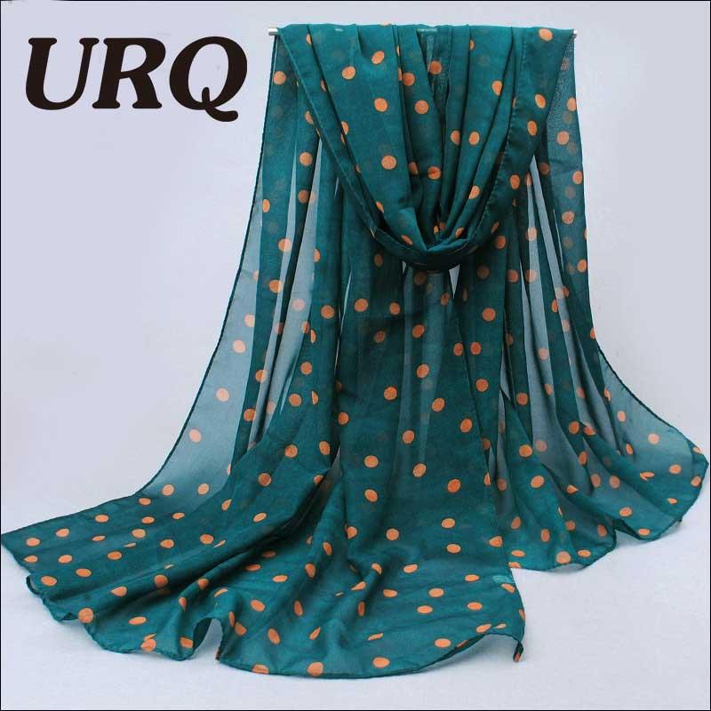 70 *160cm Woman Shawl Korean Style Small polka Dot Print Chiffon Velvet Silk Scarves Wrap R7A16097(China (Mainland))