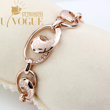 18K rose gold Plated bracelets bangles for women Vintage Fashion Classic laser V style heart G brand Viennois Jewelry wholesale(China (Mainland))