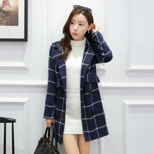 2016 Autumn Winter Europe Russia Fashion Women Tartan Trench Plaid Woolen Coat Elegant Noble Blue Double-Breasted Warm Overcoat