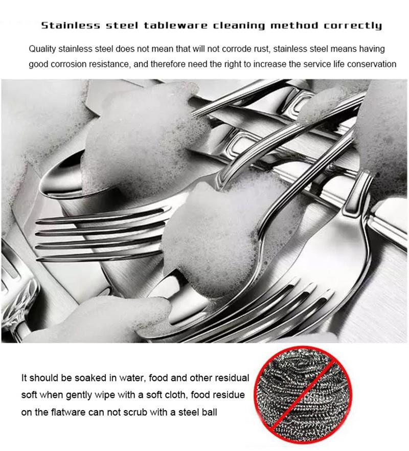 Buy JANKNG 18/10 European Black Stainless Steel Flatware Set Luxury Matte Spoon Fork Knife Cutlery Set Dinnerware Tableware for 1 cheap