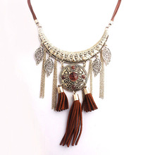 2016 New Metal Pendant Tassel Chain Leaf Charms Necklace Women Bohemia Rope Zinc Alloy Vintage Resin Stone Jewelry Bijoux Female(China (Mainland))