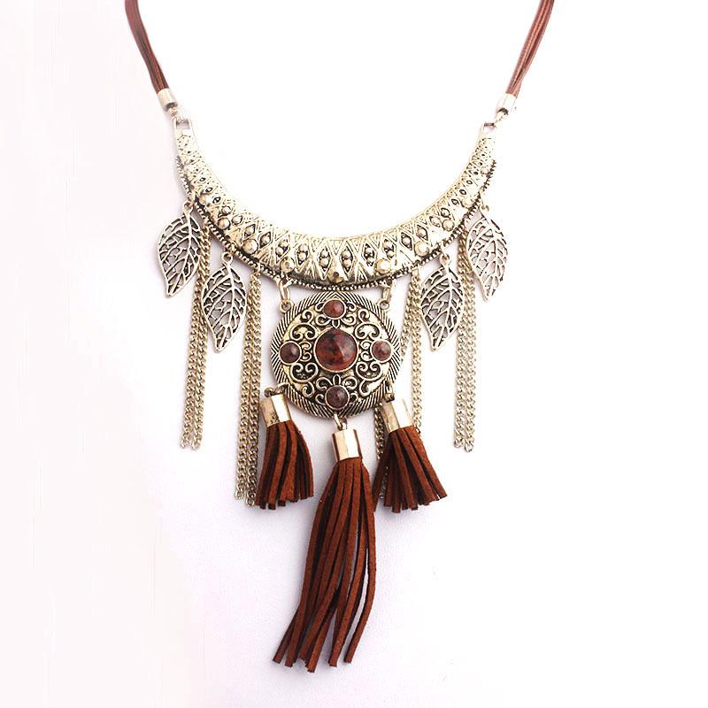 2015 New Metal Pendant Tassel Chain Leaf Charms Necklace Women Bohemia Rope Zinc Alloy Vintage Resin Stone Jewelry Bijoux Female<br><br>Aliexpress
