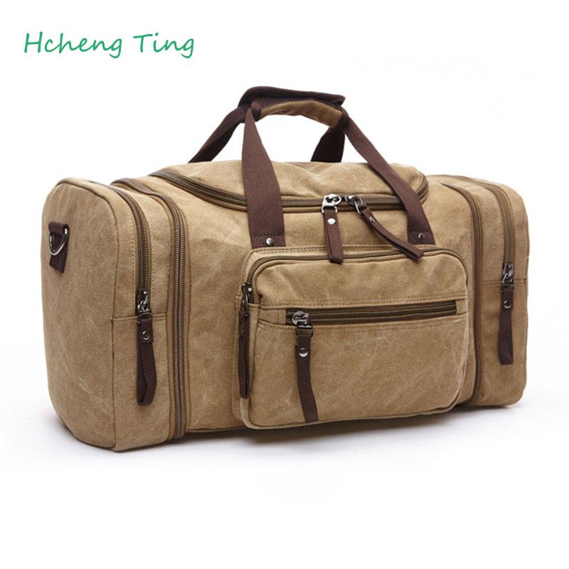 Men's Vintage Travel Bag Bolsa Canvas Large Capacity Tote Portable Luggage Daily Handbag(China (Mainland))