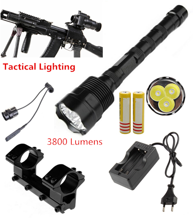Tactical Flashlight Shotgun Rifle lighting 3800Lm 3T6 LED Hunting Torch Mount +Tactical mount+Remote switch+Battery+Charger<br><br>Aliexpress